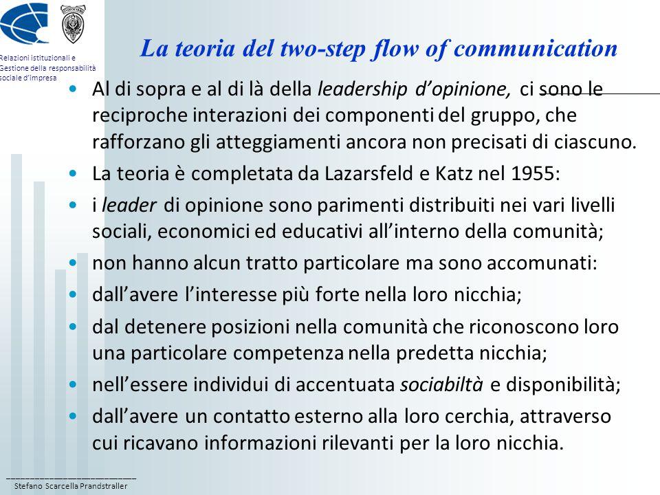 ____________________________ Stefano Scarcella Prandstraller Relazioni istituzionali e Gestione della responsabilità sociale d'impresa La teoria del two-step flow of communication Al di sopra e al di là della leadership d'opinione, ci sono le reciproche interazioni dei componenti del gruppo, che rafforzano gli atteggiamenti ancora non precisati di ciascuno.