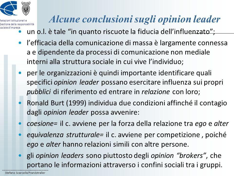 ____________________________ Stefano Scarcella Prandstraller Relazioni istituzionali e Gestione della responsabilità sociale d'impresa Alcune conclusioni sugli opinion leader un o.l.
