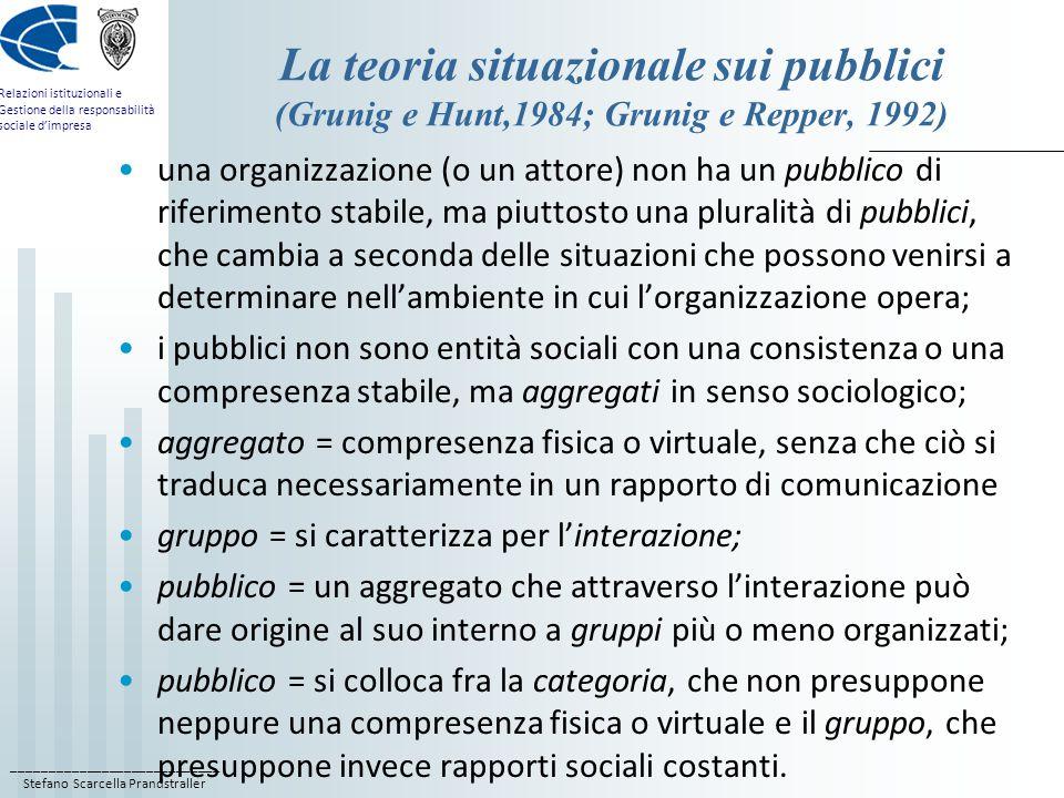 ____________________________ Stefano Scarcella Prandstraller Relazioni istituzionali e Gestione della responsabilità sociale d'impresa La teoria situazionale sui pubblici (Grunig e Hunt,1984; Grunig e Repper, 1992) una organizzazione (o un attore) non ha un pubblico di riferimento stabile, ma piuttosto una pluralità di pubblici, che cambia a seconda delle situazioni che possono venirsi a determinare nell'ambiente in cui l'organizzazione opera; i pubblici non sono entità sociali con una consistenza o una compresenza stabile, ma aggregati in senso sociologico; aggregato = compresenza fisica o virtuale, senza che ciò si traduca necessariamente in un rapporto di comunicazione gruppo = si caratterizza per l'interazione; pubblico = un aggregato che attraverso l'interazione può dare origine al suo interno a gruppi più o meno organizzati; pubblico = si colloca fra la categoria, che non presuppone neppure una compresenza fisica o virtuale e il gruppo, che presuppone invece rapporti sociali costanti.