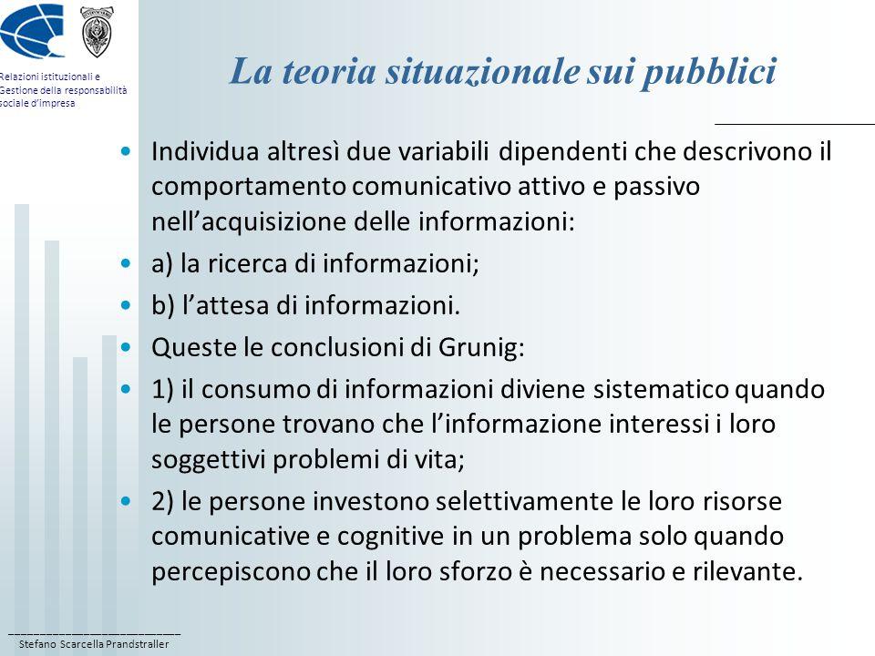 ____________________________ Stefano Scarcella Prandstraller Relazioni istituzionali e Gestione della responsabilità sociale d'impresa La teoria situazionale sui pubblici Individua altresì due variabili dipendenti che descrivono il comportamento comunicativo attivo e passivo nell'acquisizione delle informazioni: a) la ricerca di informazioni; b) l'attesa di informazioni.