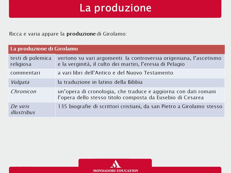 La produzione Ricca e varia appare la produzione di Girolamo: La produzione di Girolamo testi di polemica religiosa vertono su vari argomenti: la cont