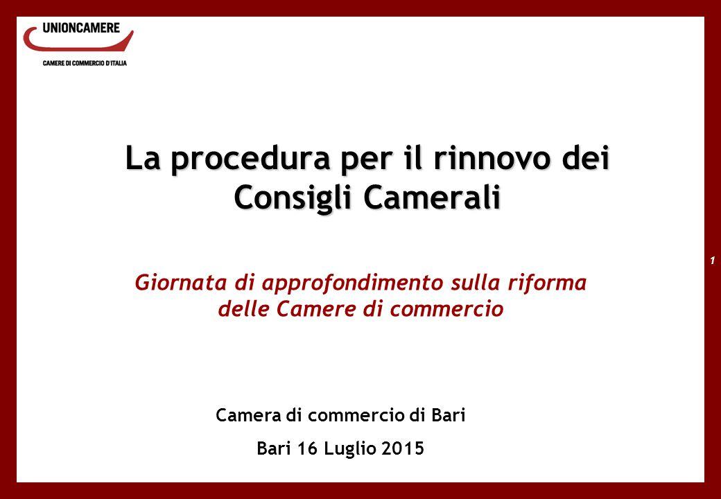 1 La procedura per il rinnovo dei Consigli Camerali Giornata di approfondimento sulla riforma delle Camere di commercio Camera di commercio di Bari Bari 16 Luglio 2015