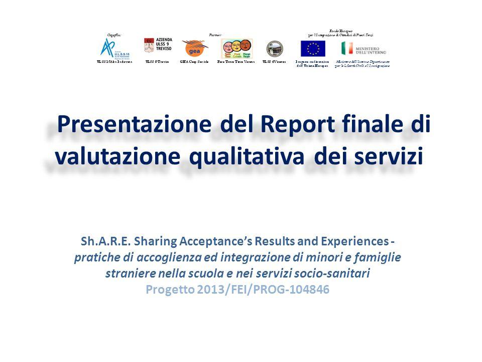Presentazione del Report finale di valutazione qualitativa dei servizi Sh.A.R.E.