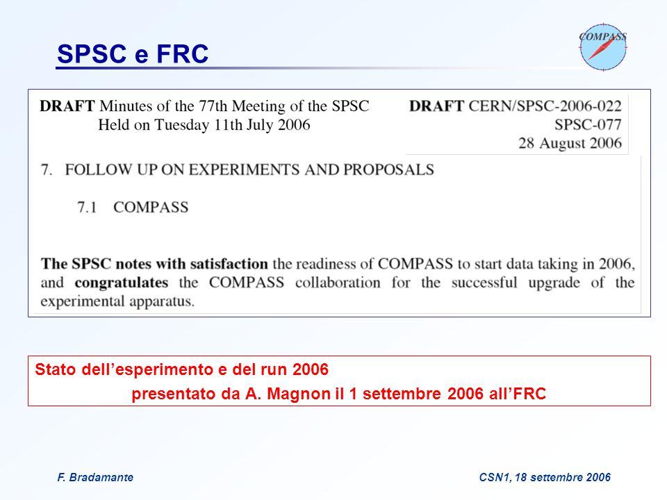 F. BradamanteCSN1, 18 settembre 2006 SPSC e FRC Stato dell'esperimento e del run 2006 presentato da A. Magnon il 1 settembre 2006 all'FRC