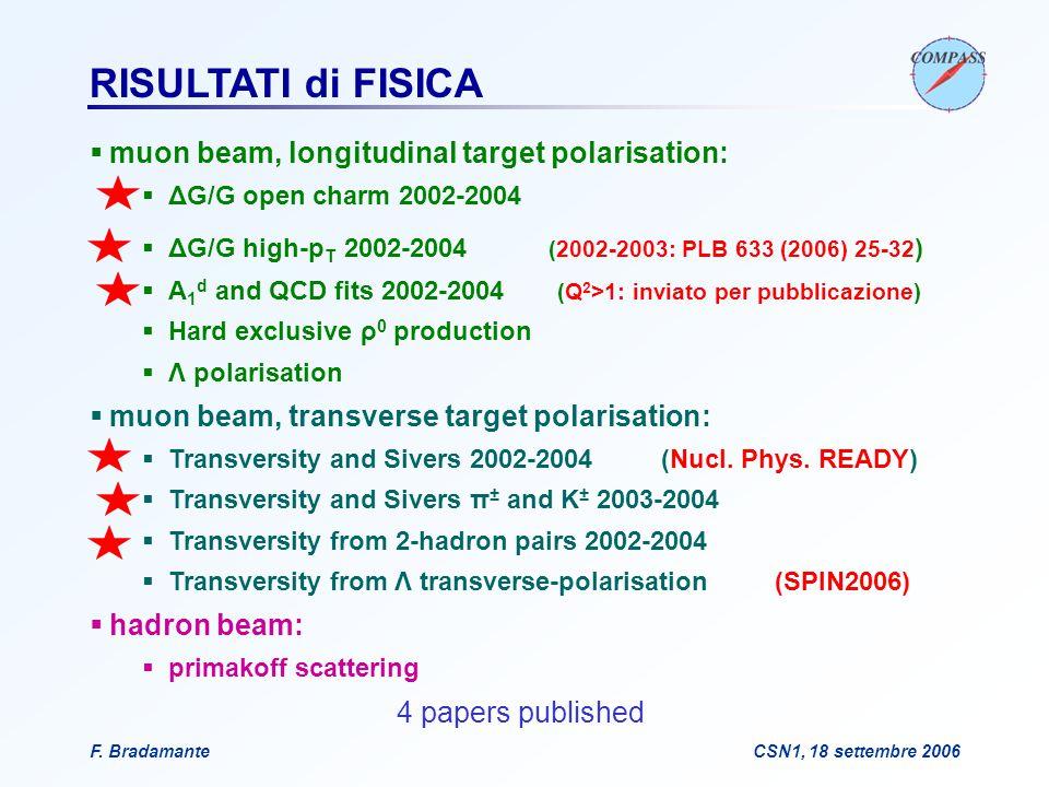 F. BradamanteCSN1, 18 settembre 2006 RISULTATI di FISICA  muon beam, longitudinal target polarisation:  ΔG/G open charm 2002-2004  ΔG/G high-p T 20