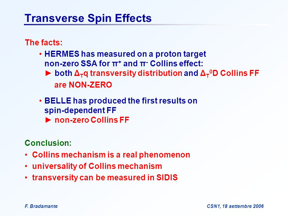 F. BradamanteCSN1, 18 settembre 2006 Transverse Spin Effects The facts: HERMES has measured on a proton target non-zero SSA for π + and π - Collins ef