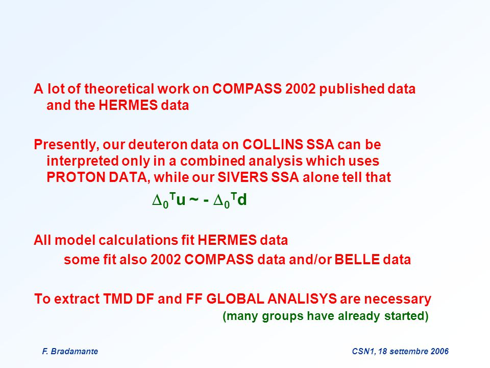 F. BradamanteCSN1, 18 settembre 2006 A lot of theoretical work on COMPASS 2002 published data and the HERMES data Presently, our deuteron data on COLL
