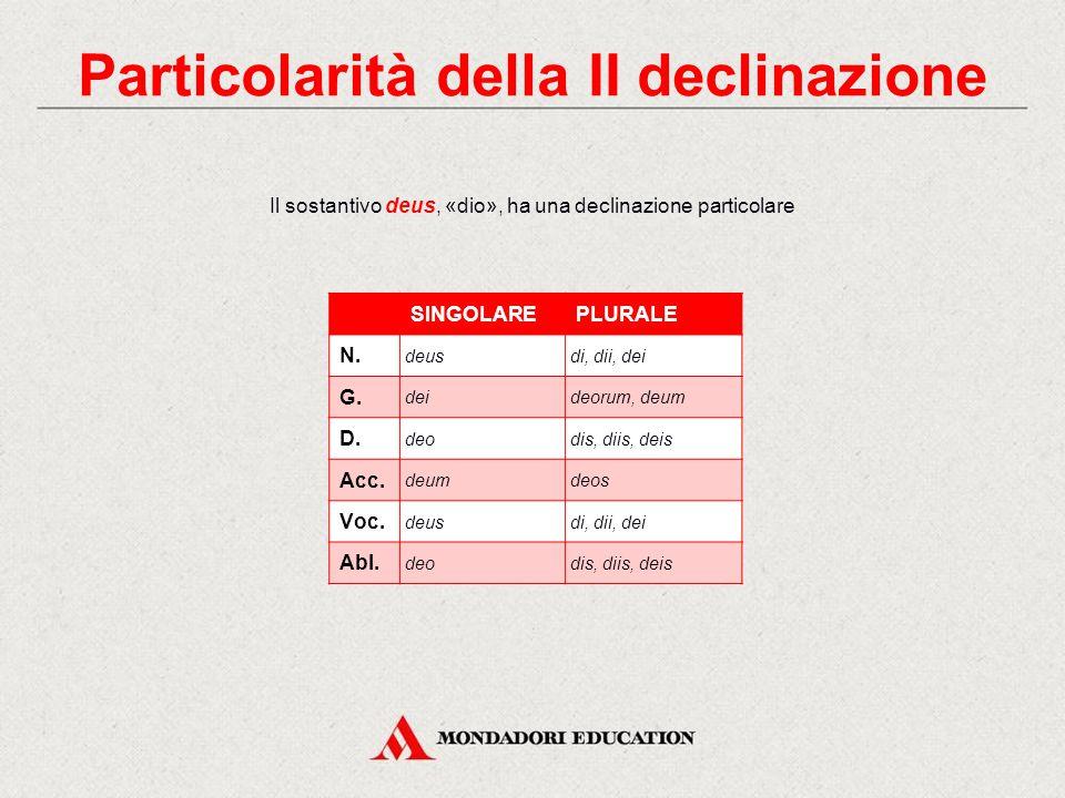 Particolarità della II declinazione auxilium, -ii, «aiuto»auxilia, -orum, «truppe ausiliarie»; castrum, -i, «fortezza»castra, -orum, «accampamento». E