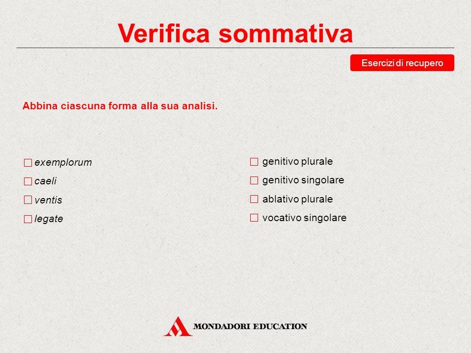 Verifica sommativa Scegli le traduzioni corrette della forma verbis. delle parole con le parole alle parole le parole (ogg.) Esercizi di recupero