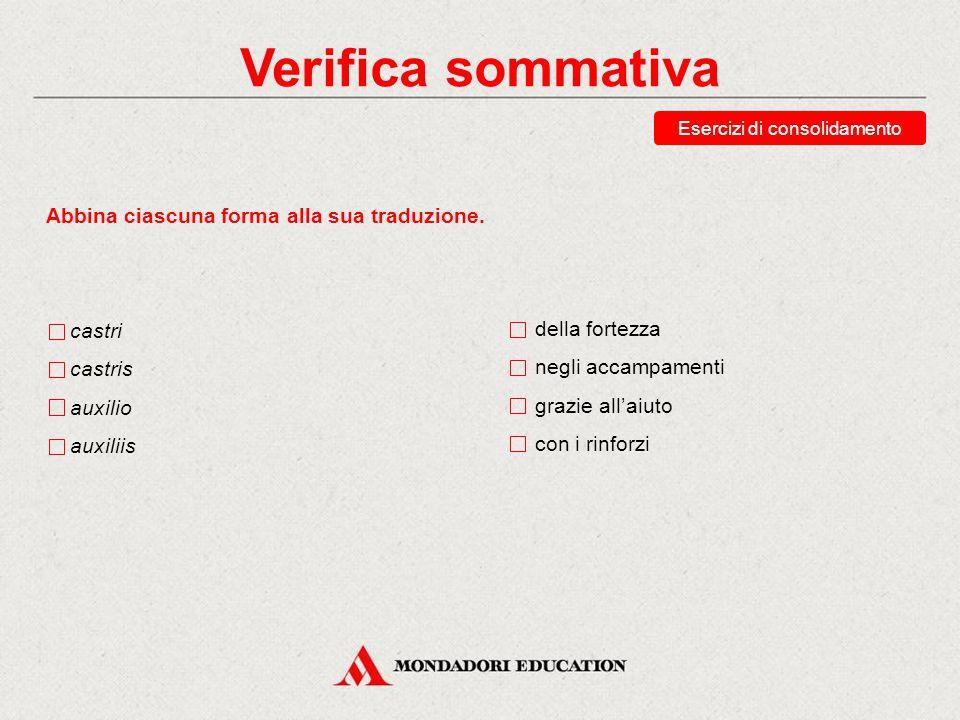 Verifica sommativa Esercizi di consolidamento Abbina ciascuna forma alla sua traduzione. vinum vino vinorum vina accusativo singolare dativo singolare