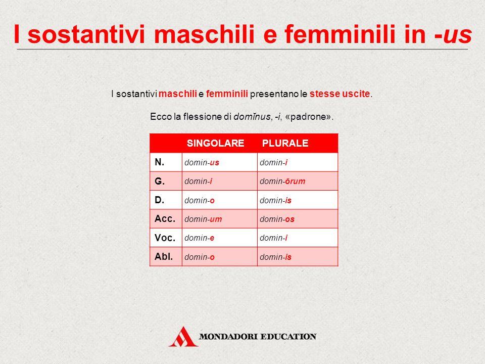La II declinazione La II declinazione comprende: sostantivi maschili, femminili (rari) e neutri. Il tema è in -o-. Le uscite caratteristiche sono: il