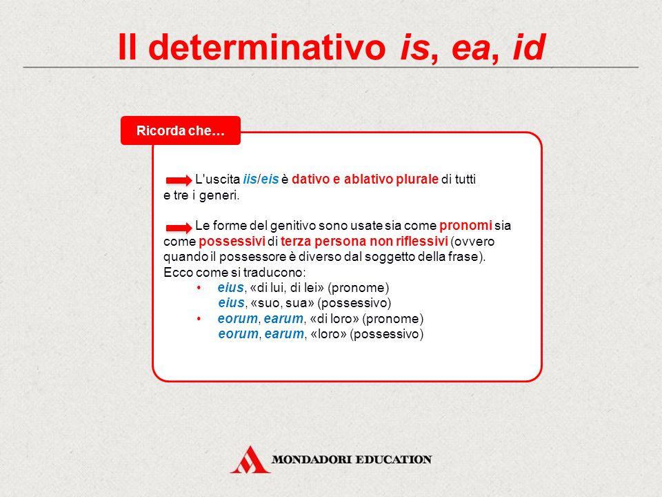 Il determinativo is, ea, id L uscita iis/eis è dativo e ablativo plurale di tutti e tre i generi.
