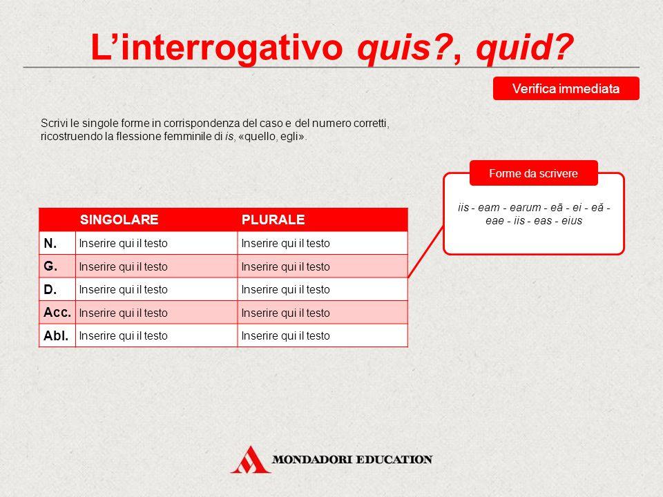 Verifica sommativa Scegli la traduzione corretta della forma ipsis.
