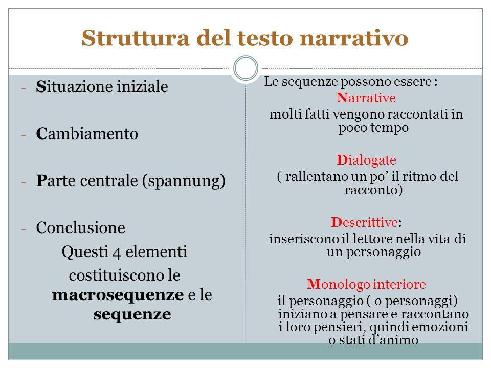 Struttura del testo narrativo - Situazione iniziale - Cambiamento - Parte centrale (spannung) - Conclusione Questi 4 elementi costituiscono le macrose