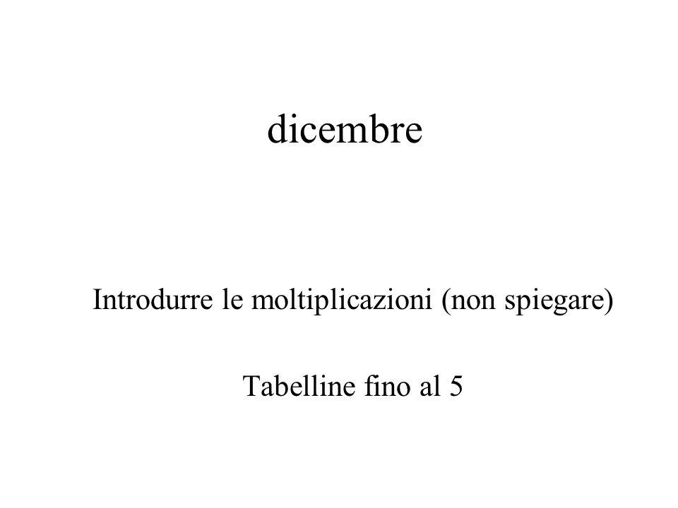 dicembre Introdurre le moltiplicazioni (non spiegare) Tabelline fino al 5
