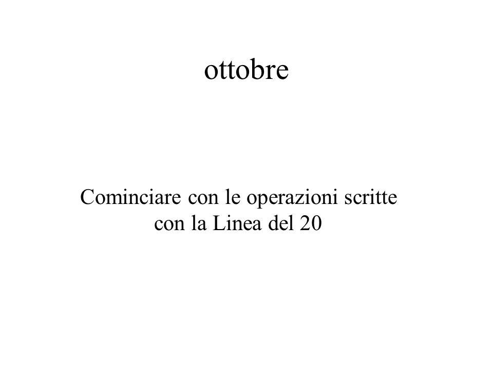 ottobre Calcolo scritto addizioni sottrazioni moltiplicazioni