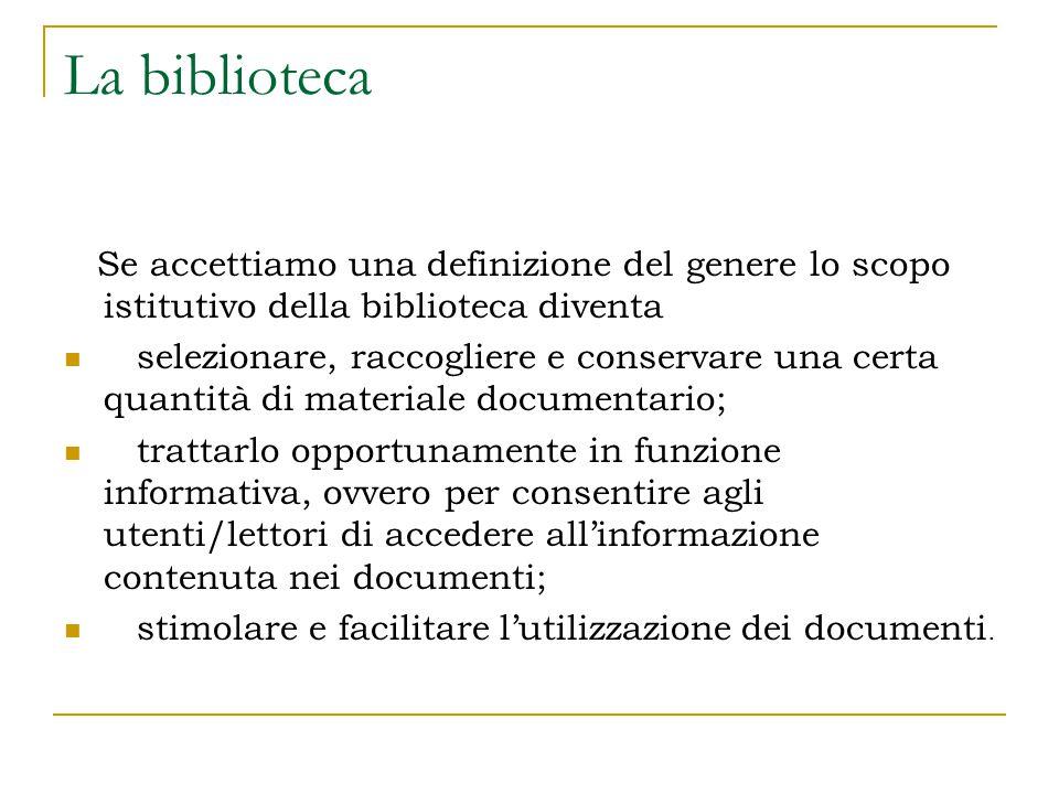 Triplice natura della Biblioteca Bibliografica, in quanto ha a che fare con l'universo bibliografico e condivide con la bibliografia, anche se con metodi e obiettivi diversi lo stesso scopo, creare ponti fra i messaggi contenuti nei documenti e i lettori.