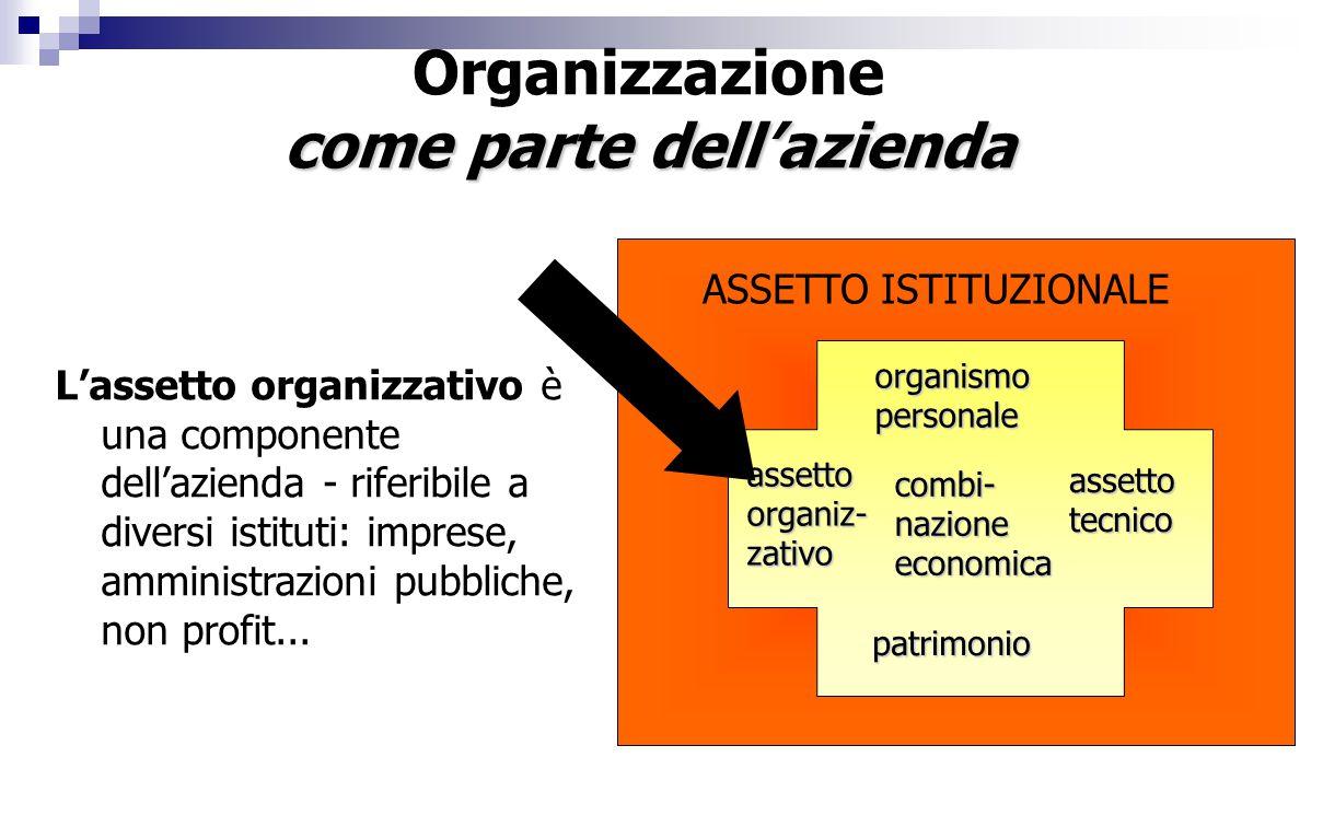 Organizzazione come parte dell'azienda L'assetto organizzativo è una componente dell'azienda - riferibile a diversi istituti: imprese, amministrazioni pubbliche, non profit...