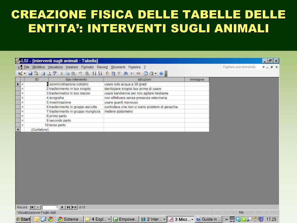 CREAZIONE FISICA DELLE TABELLE DELLE ENTITA': INTERVENTI SUGLI ANIMALI