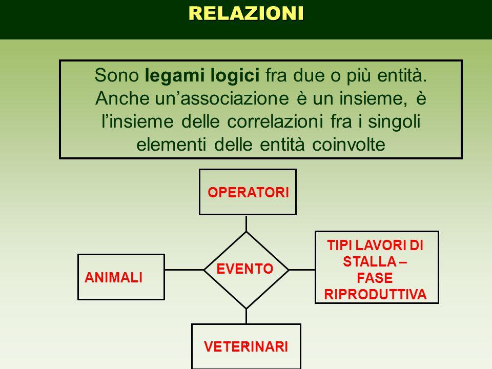 4 Sono legami logici fra due o più entità. Anche un'associazione è un insieme, è l'insieme delle correlazioni fra i singoli elementi delle entità coin