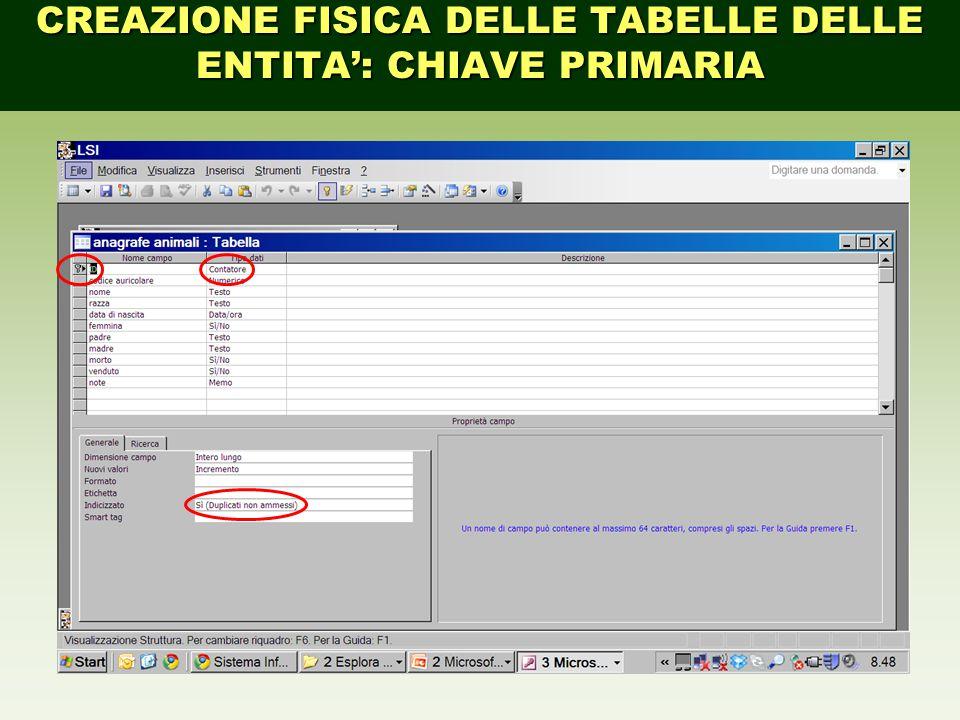 CREAZIONE FISICA DELLE TABELLE DELLE ENTITA': CHIAVE PRIMARIA