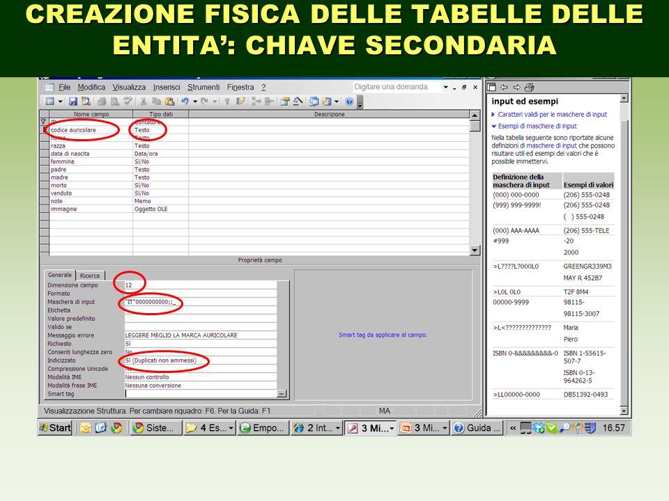 CREAZIONE FISICA DELLE TABELLE DELLE ENTITA': CHIAVE SECONDARIA