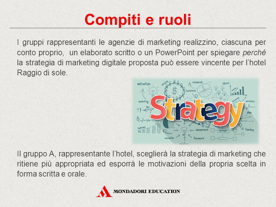 Compiti e ruoli I gruppi rappresentanti le agenzie di marketing realizzino, ciascuna per conto proprio, un elaborato scritto o un PowerPoint per spieg