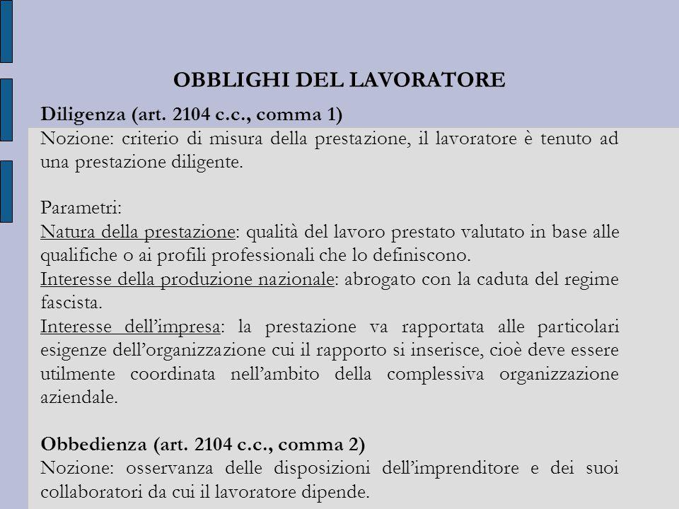 OBBLIGHI DEL LAVORATORE Diligenza (art.