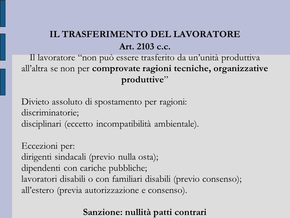 IL TRASFERIMENTO DEL LAVORATORE Art. 2103 c.c.