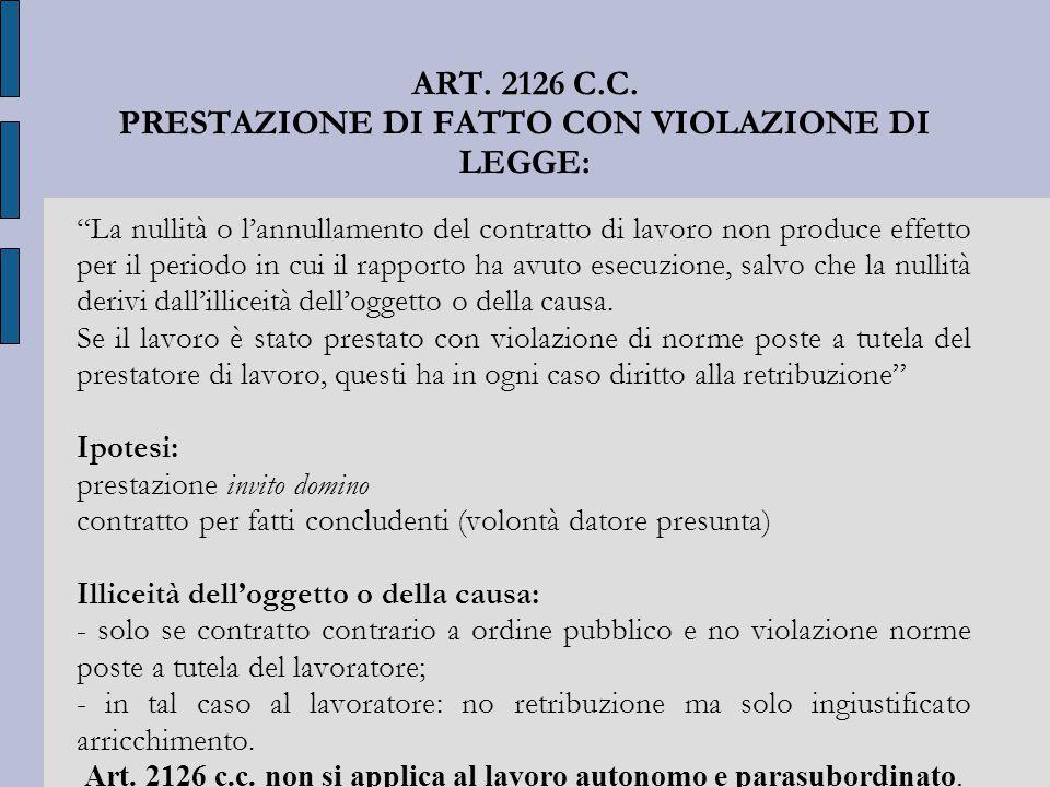 """ART. 2126 C.C. PRESTAZIONE DI FATTO CON VIOLAZIONE DI LEGGE: """"La nullità o l'annullamento del contratto di lavoro non produce effetto per il periodo i"""