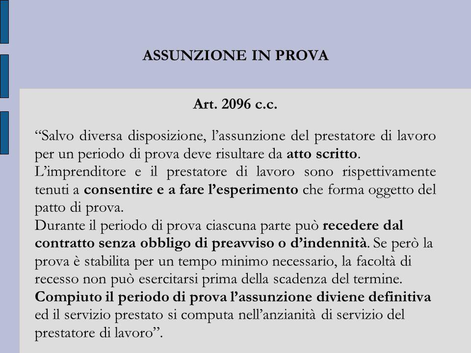 ASSUNZIONE IN PROVA Art. 2096 c.c.