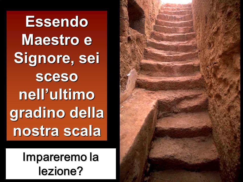 Essendo Maestro e Signore, sei sceso nell'ultimo gradino della nostra scala Impareremo la lezione?