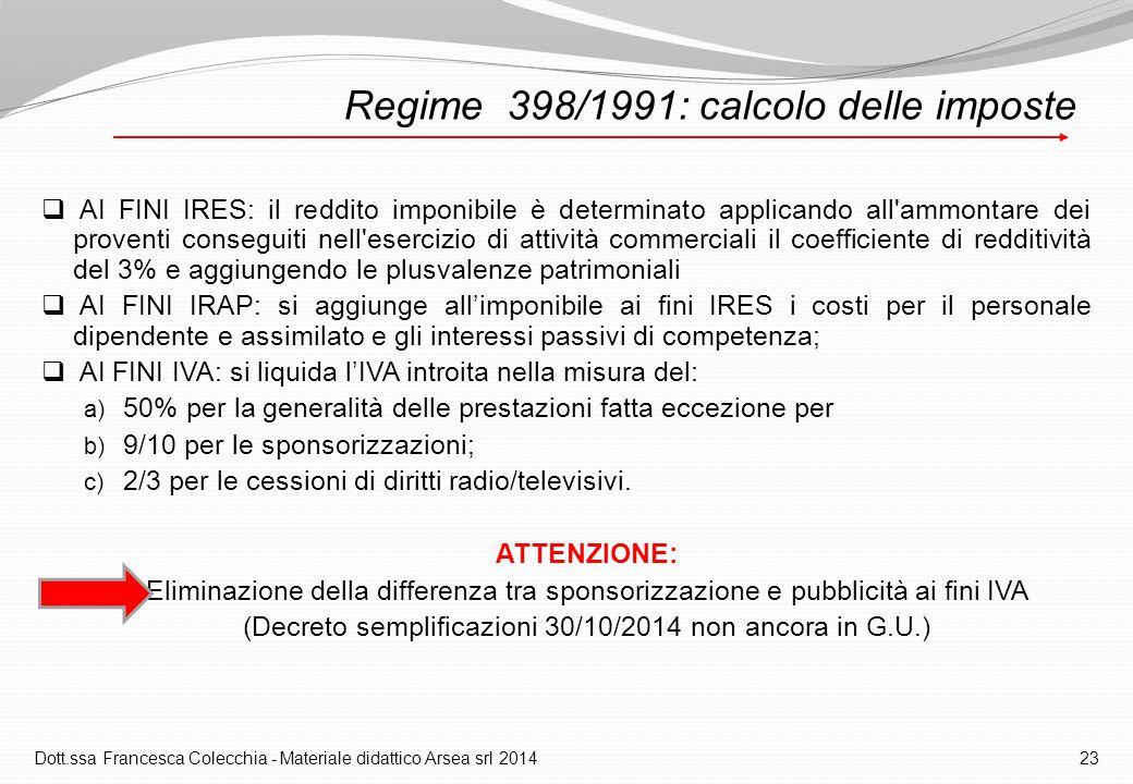 Regime 398/1991: calcolo delle imposte  AI FINI IRES: il reddito imponibile è determinato applicando all ammontare dei proventi conseguiti nell esercizio di attività commerciali il coefficiente di redditività del 3% e aggiungendo le plusvalenze patrimoniali  AI FINI IRAP: si aggiunge all'imponibile ai fini IRES i costi per il personale dipendente e assimilato e gli interessi passivi di competenza;  AI FINI IVA: si liquida l'IVA introita nella misura del: a) 50% per la generalità delle prestazioni fatta eccezione per b) 9/10 per le sponsorizzazioni; c) 2/3 per le cessioni di diritti radio/televisivi.