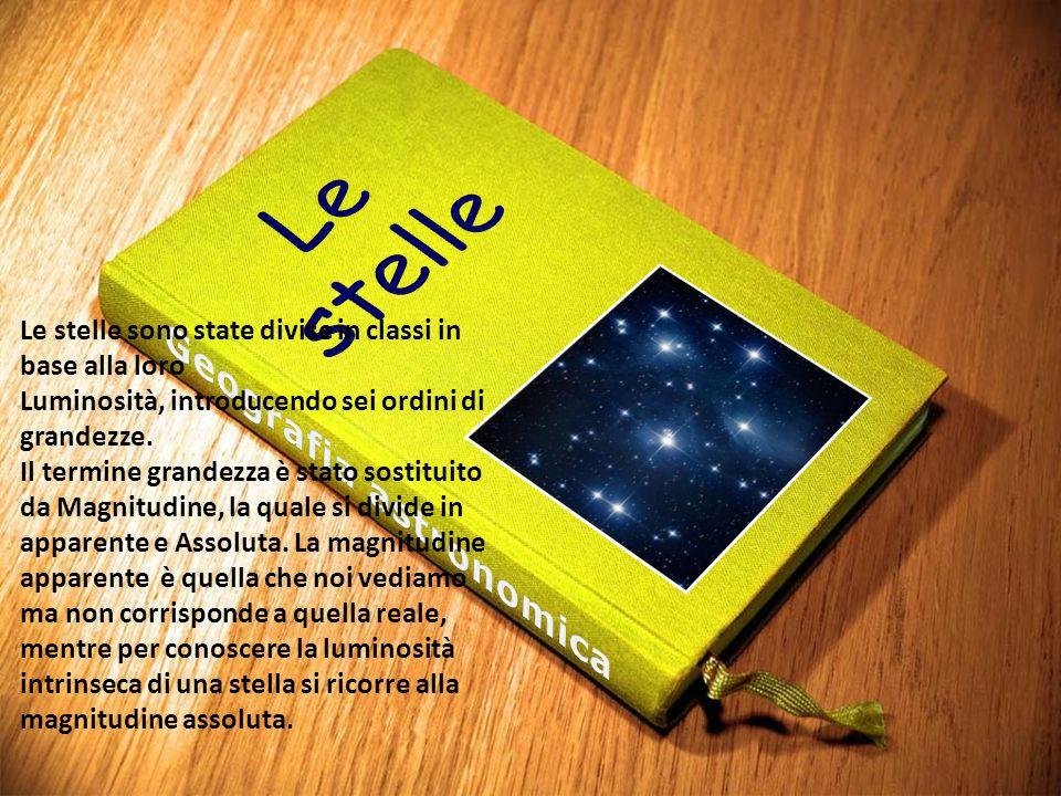 Le stelle sono state divise in classi in base alla loro Luminosità, introducendo sei ordini di grandezze. Il termine grandezza è stato sostituito da M