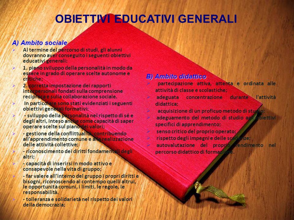 A) Ambito sociale   Al termine del percorso di studi, gli alunni dovranno aver conseguito i seguenti obiettivi educativi generali:   1. pieno svil