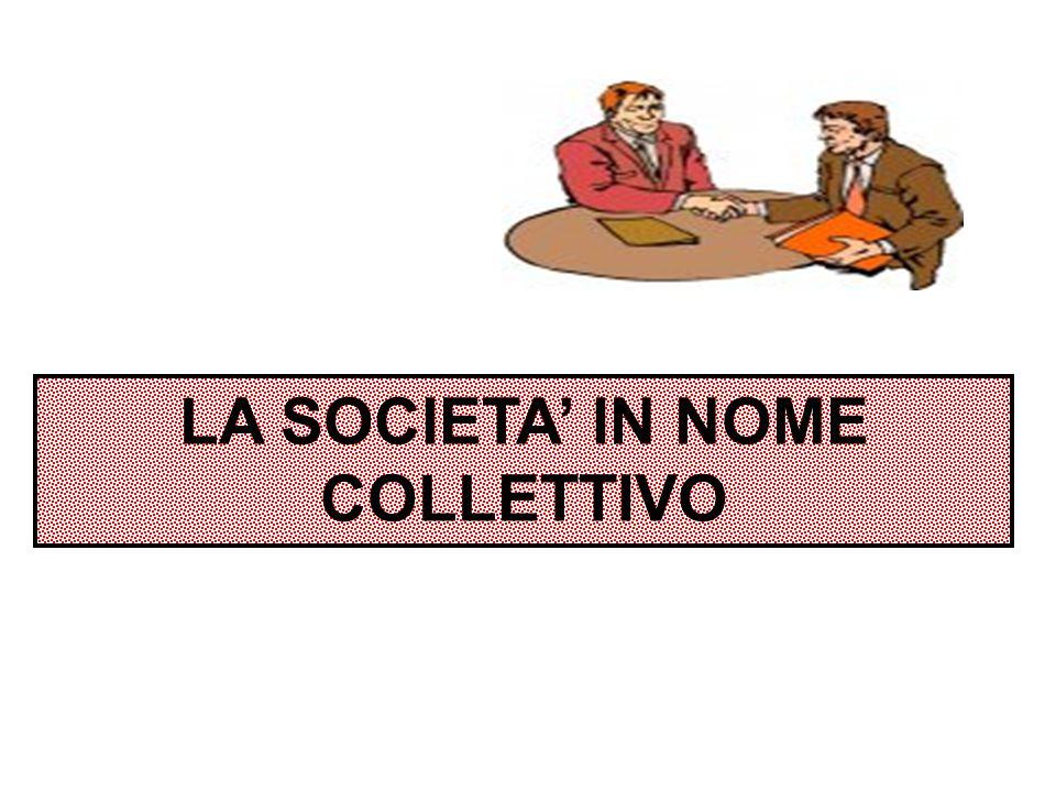 La società in nome collettivo (s.n.c.) è una società di persone nella quale tutti i soci rispondono SOLIDALMENTE, ILLIMITATAMENTE e SUSSIDIARIAMENTE per le obbligazioni sociali.