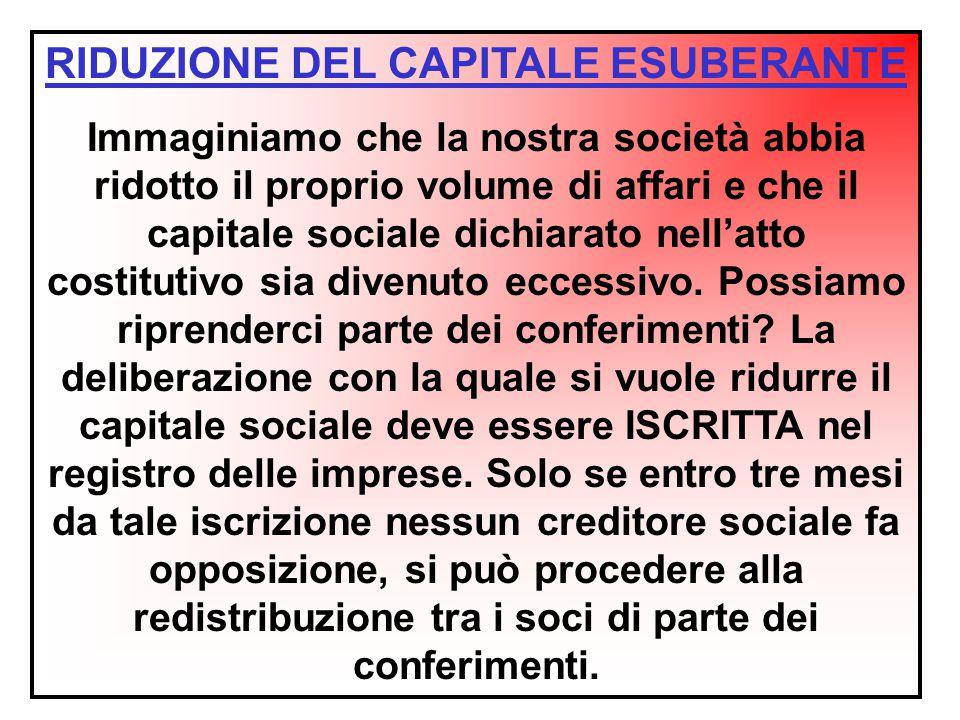 RIDUZIONE DEL CAPITALE ESUBERANTE Immaginiamo che la nostra società abbia ridotto il proprio volume di affari e che il capitale sociale dichiarato nel