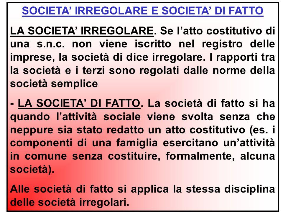 VANTAGGI DELLA SOCIETA' REGOLARE AUTONOMIA PATRIMONIALE PIÙ FORTE - IL CREDITORE PARTICOLARE DEL SOCIO NON PUÒ CHIEDERE LA LIQUIDAZIONE DELLA QUOTA SOCIALE.