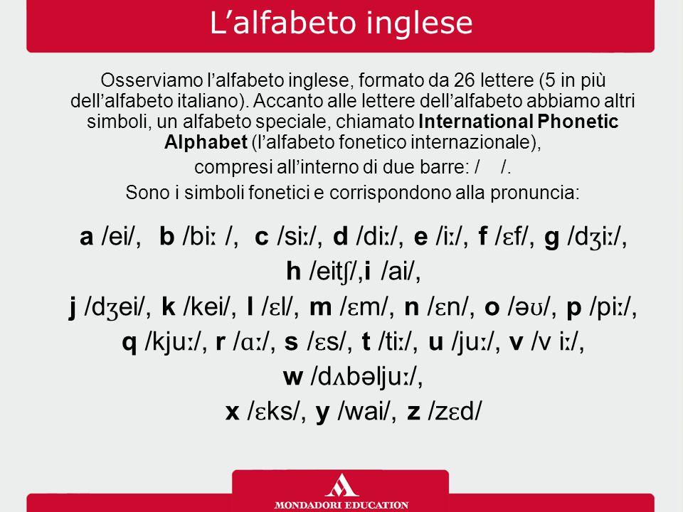 L'alfabeto inglese Osserviamo l'alfabeto inglese, formato da 26 lettere (5 in più dell'alfabeto italiano). Accanto alle lettere dell'alfabeto abbiamo