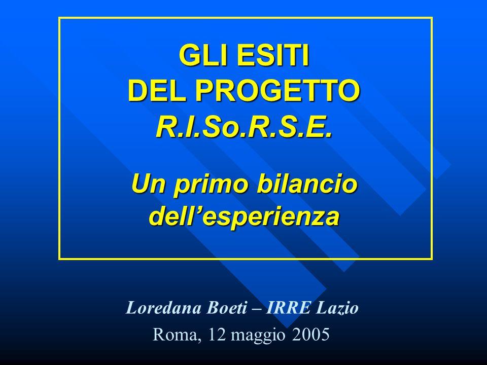 GLI ESITI DEL PROGETTO R.I.So.R.S.E.