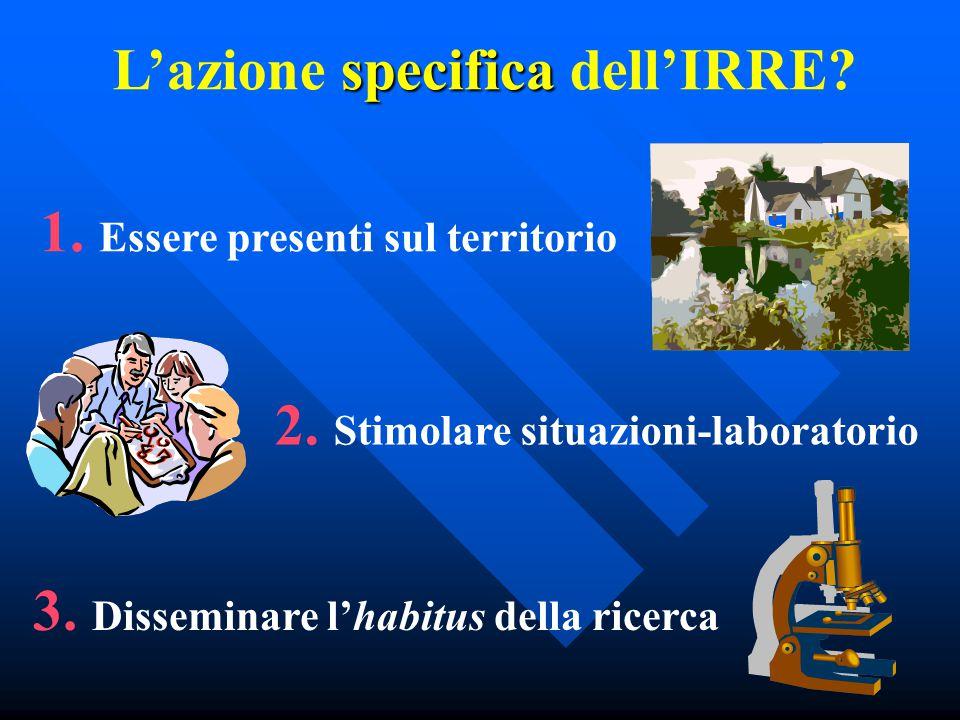 specifica L'azione specifica dell'IRRE. 1. Essere presenti sul territorio 2.