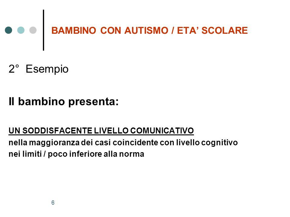 6 BAMBINO CON AUTISMO / ETA' SCOLARE 2° Esempio Il bambino presenta: UN SODDISFACENTE LIVELLO COMUNICATIVO nella maggioranza dei casi coincidente con livello cognitivo nei limiti / poco inferiore alla norma