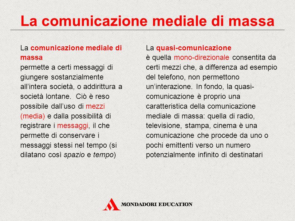 La quasi-comunicazione è quella mono-direzionale consentita da certi mezzi che, a differenza ad esempio del telefono, non permettono un'interazione. I