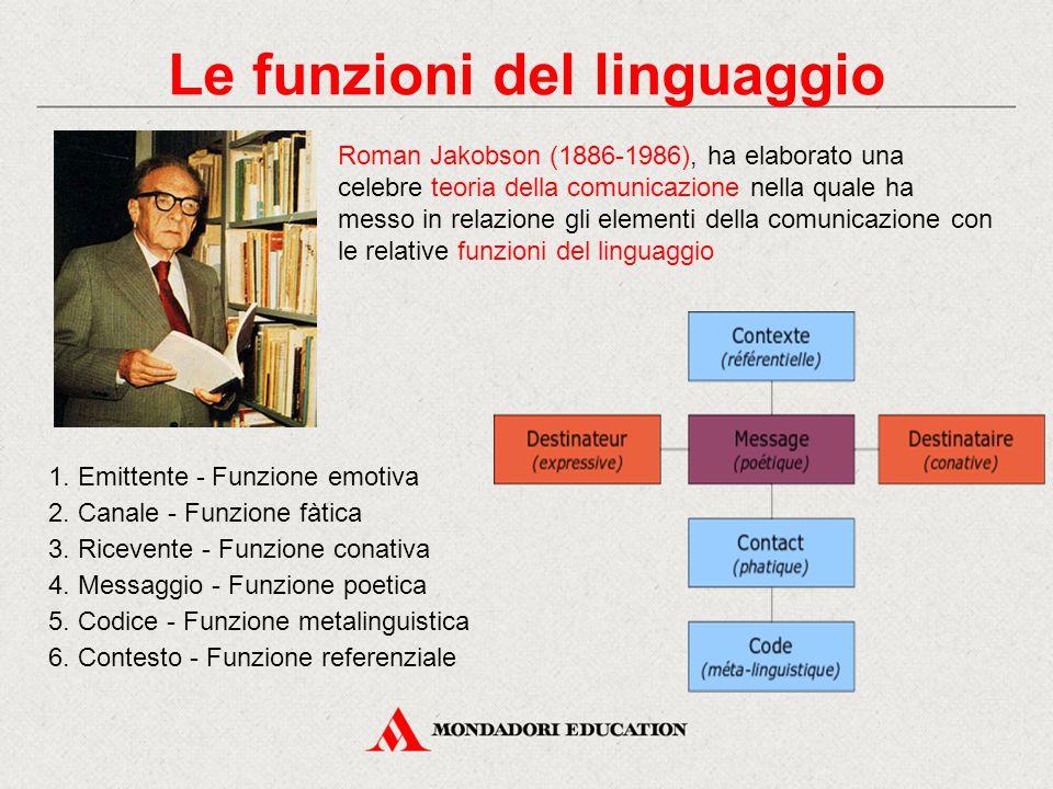 Roman Jakobson (1886-1986), ha elaborato una celebre teoria della comunicazione nella quale ha messo in relazione gli elementi della comunicazione con le relative funzioni del linguaggio 1.