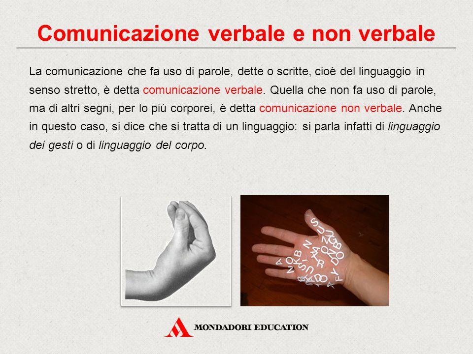 La comunicazione che fa uso di parole, dette o scritte, cioè del linguaggio in senso stretto, è detta comunicazione verbale.