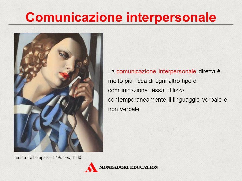 La comunicazione interpersonale diretta è molto più ricca di ogni altro tipo di comunicazione: essa utilizza contemporaneamente il linguaggio verbale e non verbale Tamara de Lempicka, Il telefono, 1930 Comunicazione interpersonale