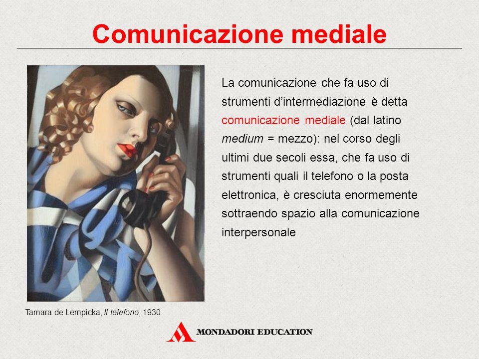 Comunicazione interpersonale e mediale La comunicazione che fa uso di strumenti d'intermediazione è detta comunicazione mediale (dal latino medium = m