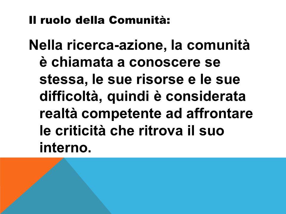 Il ruolo della Comunità: Nella ricerca-azione, la comunità è chiamata a conoscere se stessa, le sue risorse e le sue difficoltà, quindi è considerata realtà competente ad affrontare le criticità che ritrova il suo interno.