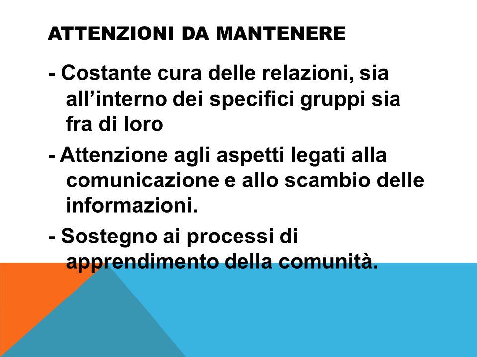 ATTENZIONI DA MANTENERE - Costante cura delle relazioni, sia all'interno dei specifici gruppi sia fra di loro - Attenzione agli aspetti legati alla comunicazione e allo scambio delle informazioni.