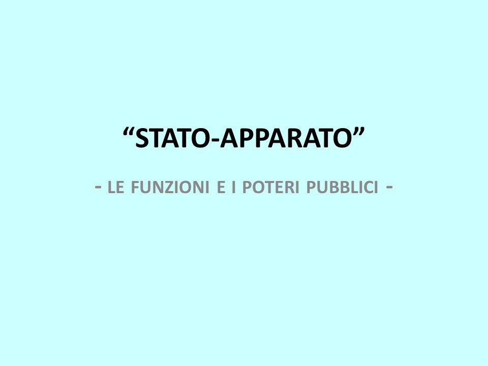STATO-APPARATO - LE FUNZIONI E I POTERI PUBBLICI -